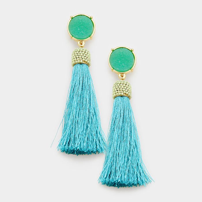 Blue Tassel Long Pierced Earrings