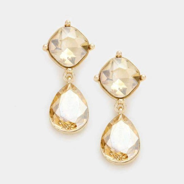 Gold Topaz Color Crystal Teardrop Evening Dangle Pierced Earrings