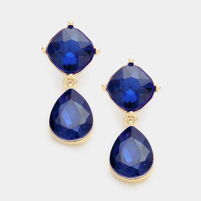 Sapphire Blue Crystal Teardrop Earrings