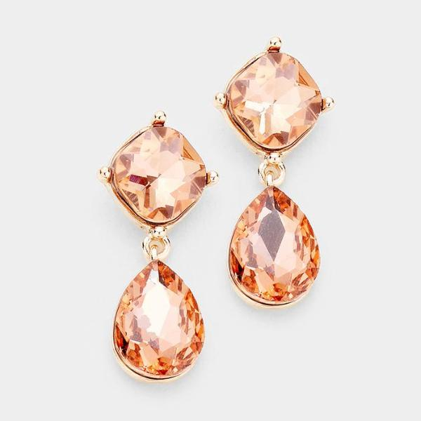 Peach Crystal Teardrop Rose Gold Evening Dangle Earrings