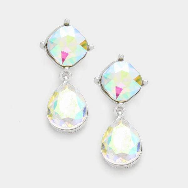 Abalone Crystal Teardrop Dangle Silver Pierced Earrings