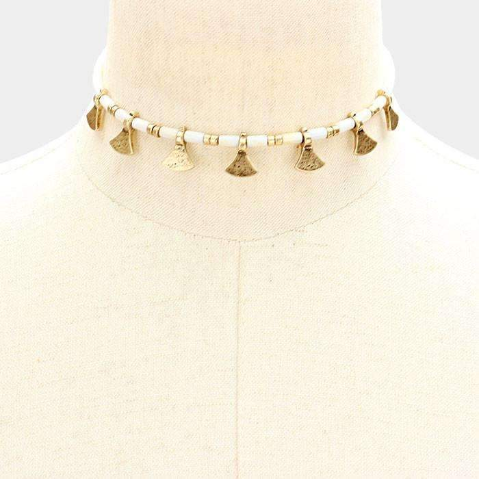 Gold & Ivory Metal Decor Choker Necklace