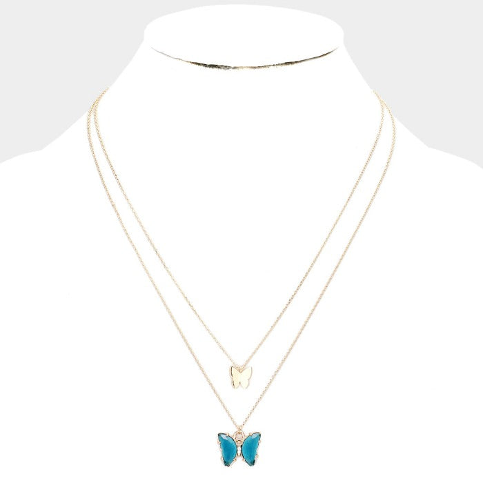 Butterfly Blue Lucite Layered Necklace