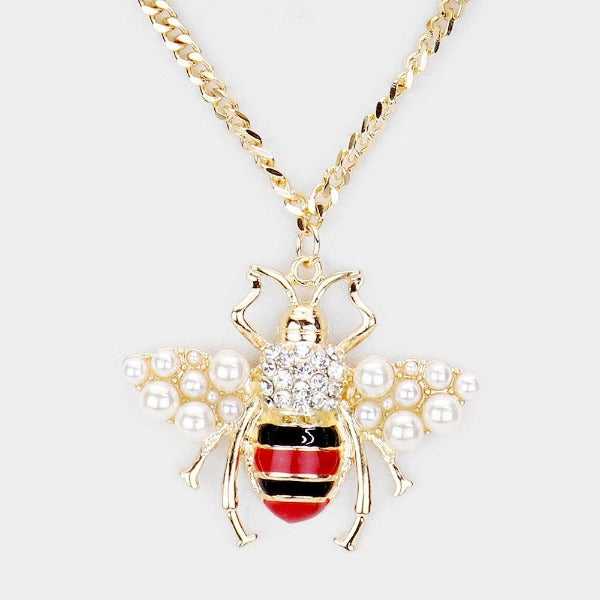 Pearl Honey Bee Pendant Chain Layered Necklace & Earring Set