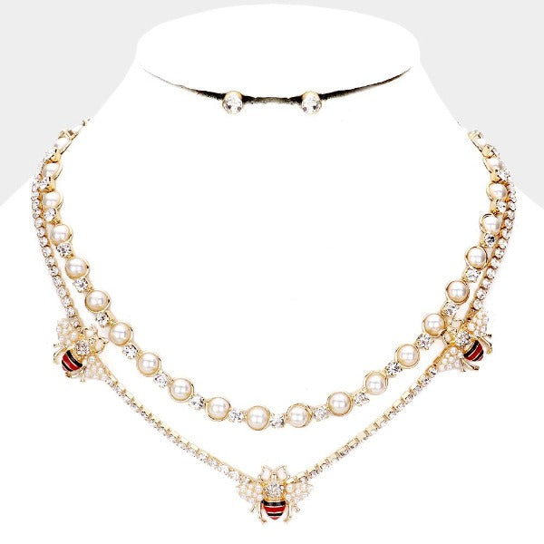 Pearl Honey Bee Accented Layered Necklace & Earring Set