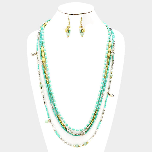 Multi Layered Mint Seed Beaded Long Necklace Set