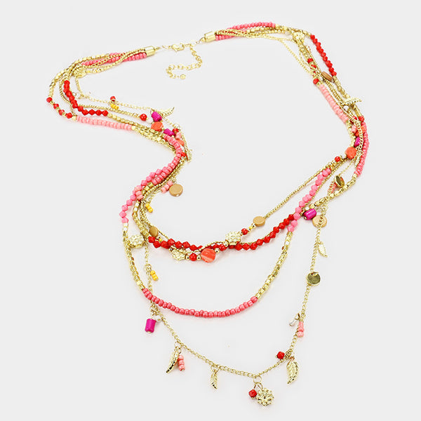 Multi Layered Pink Seed Beaded Long Necklace Set