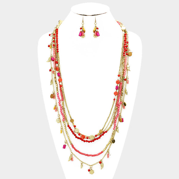 Multi Layered Seed Beaded Long Necklace Set