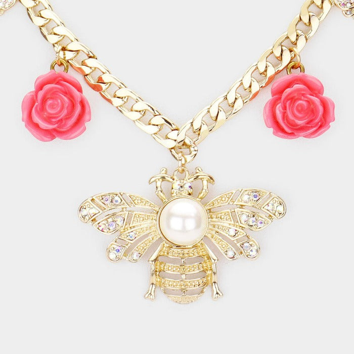 Pearl Center Honey Bee Flower Pendant Necklace Set