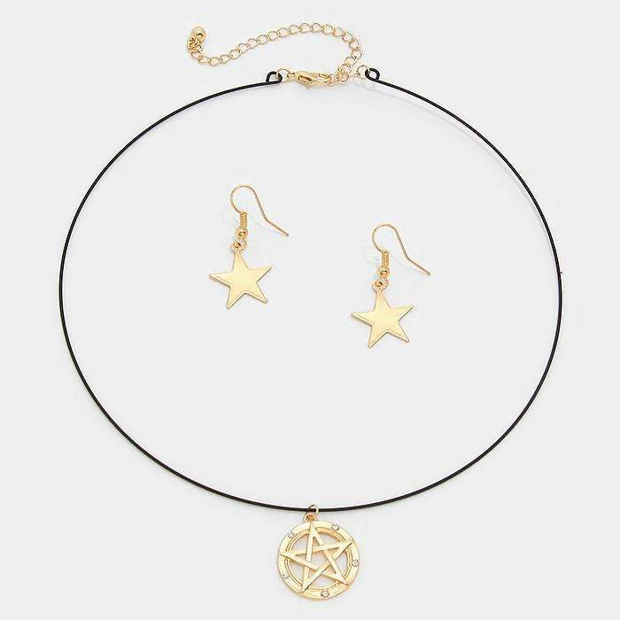 Gold Star Crystal Detail Pendant Matte Black Wire Choker Necklace & Earring Set