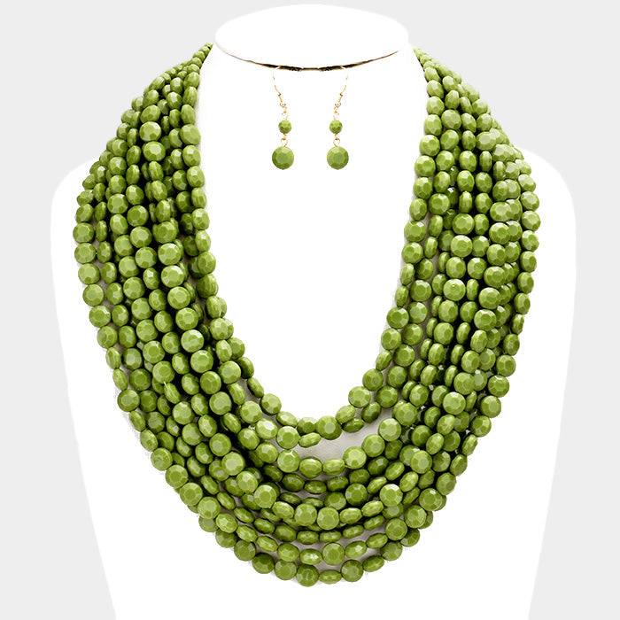 Olive Green Multi Strand Faceted Round Beaded Necklace