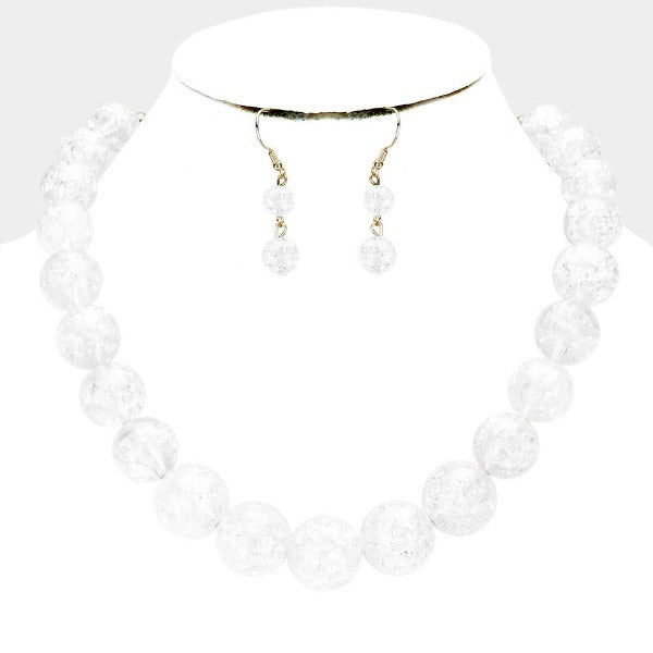 Clear Cracked Lucite Bead Ball Necklace & Earring Set