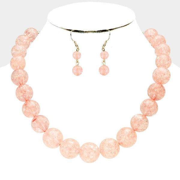 Light Orange Cracked Lucite Bead Ball Necklace & Earring Set