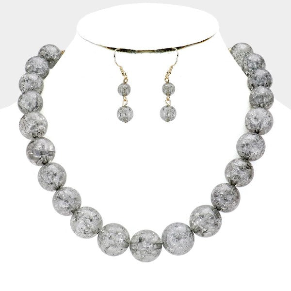 Gray Cracked Lucite Bead Ball Necklace & Earring Set