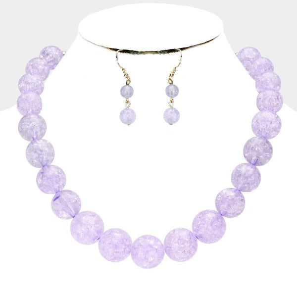 Lavender Cracked Lucite Bead Ball Necklace & Earring Set
