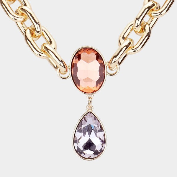 Peach Oval Lavender Teardrop Stone Link Necklace