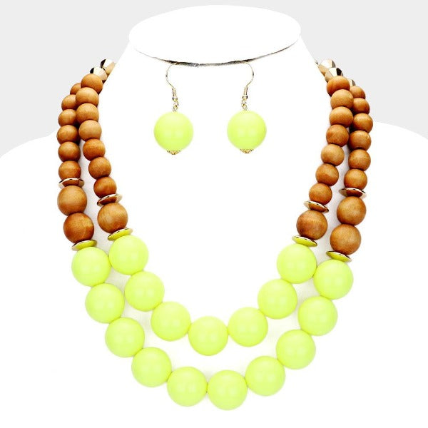 Neon Yellow Wood Ball Double Layer Necklace Set