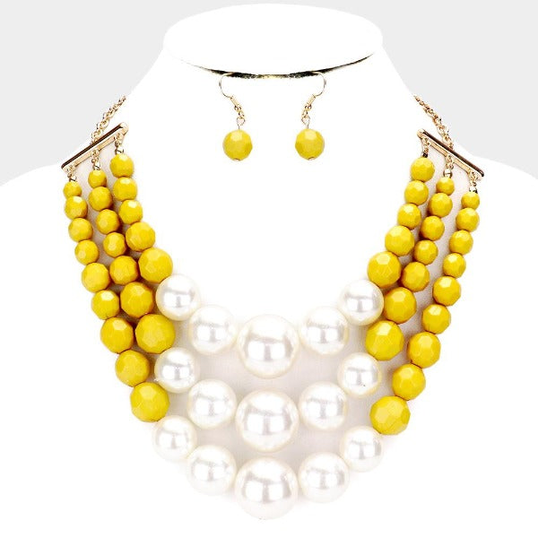 Pearl Faceted Mustard Yellow Bead Triple Layered Necklace