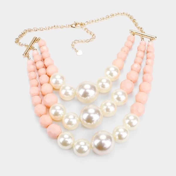 Pearl Faceted Pink Bead Triple Layered Necklace