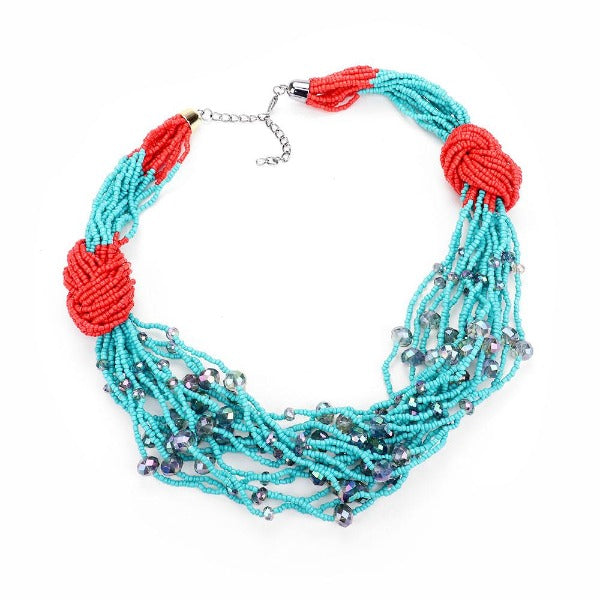 Crystal Seed Bead Cluster Knot Collar Necklace