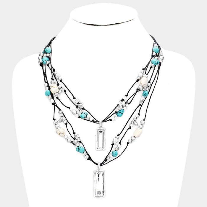 Rectangle Crystal Layered Suede Necklace
