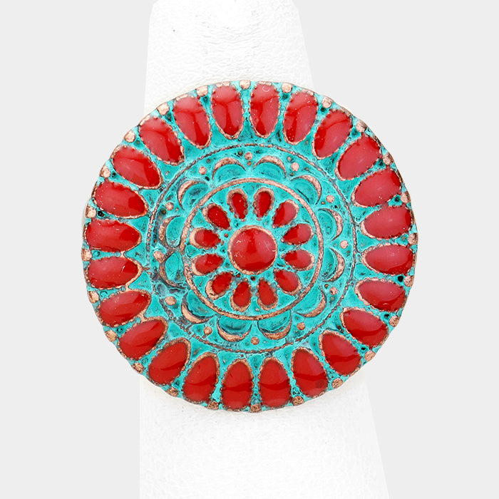 Round Red Enamel Tribal Stretch Ring