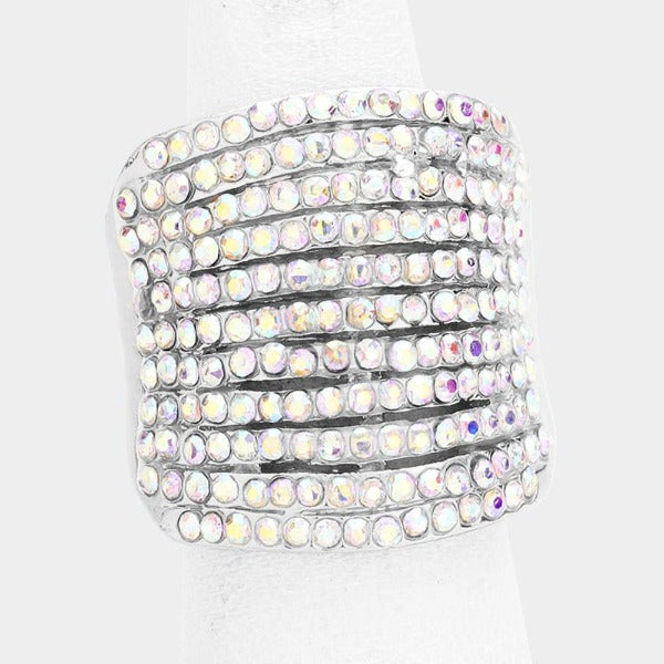 Rhinestone Abalone Pave Multi Row Stretch Ring