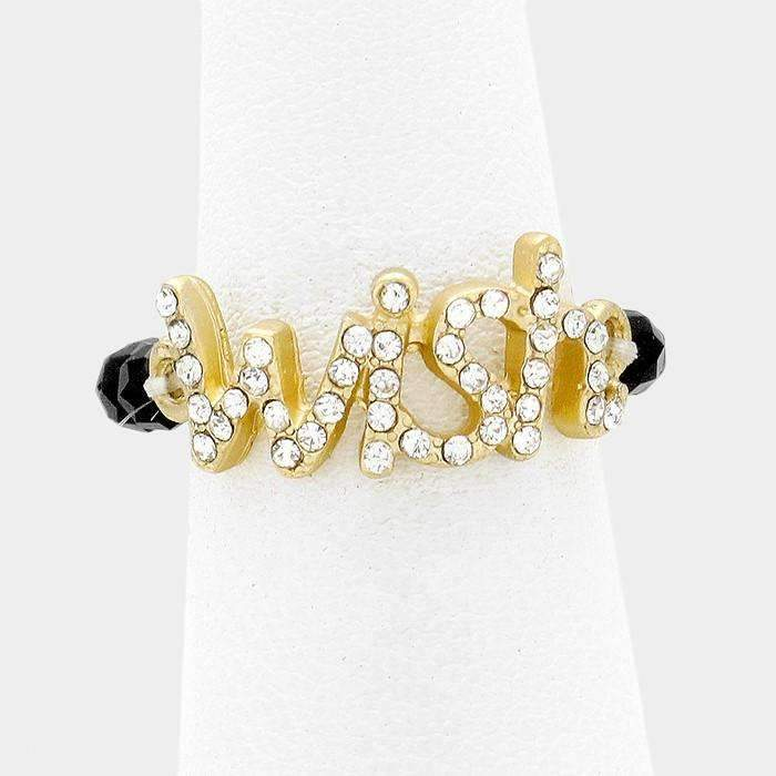 """Wish"" Gold and Clear Crystal Inspirational Stretch Ring"