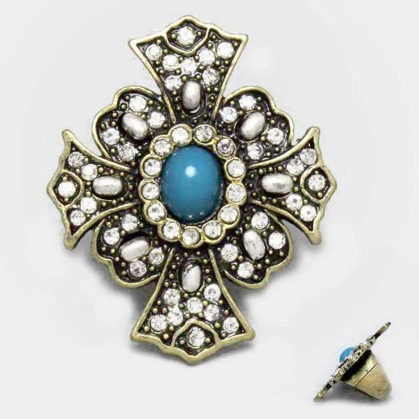 Turquoise Blue Stone & Sparkly Rhinestone Pave Cross Stretch Ring