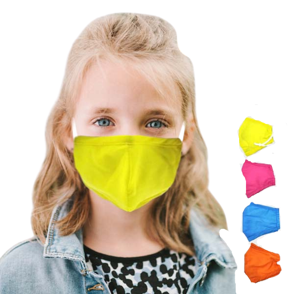 Kids Face Masks Assorted Neon Colors Set of 4
