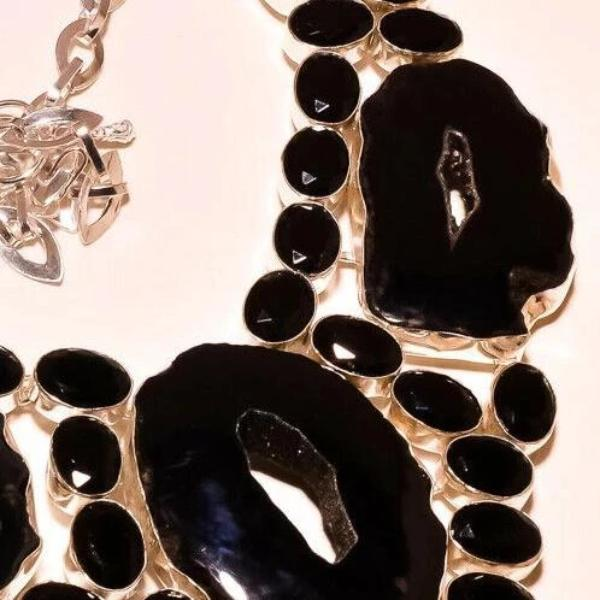 Fancy Black Botswana Agate, Black Spinel Silver Plated Necklace 18""