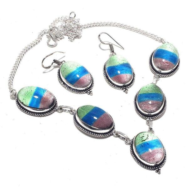 Fancy Dichroic Glass Handmade Necklace & Earrings Set