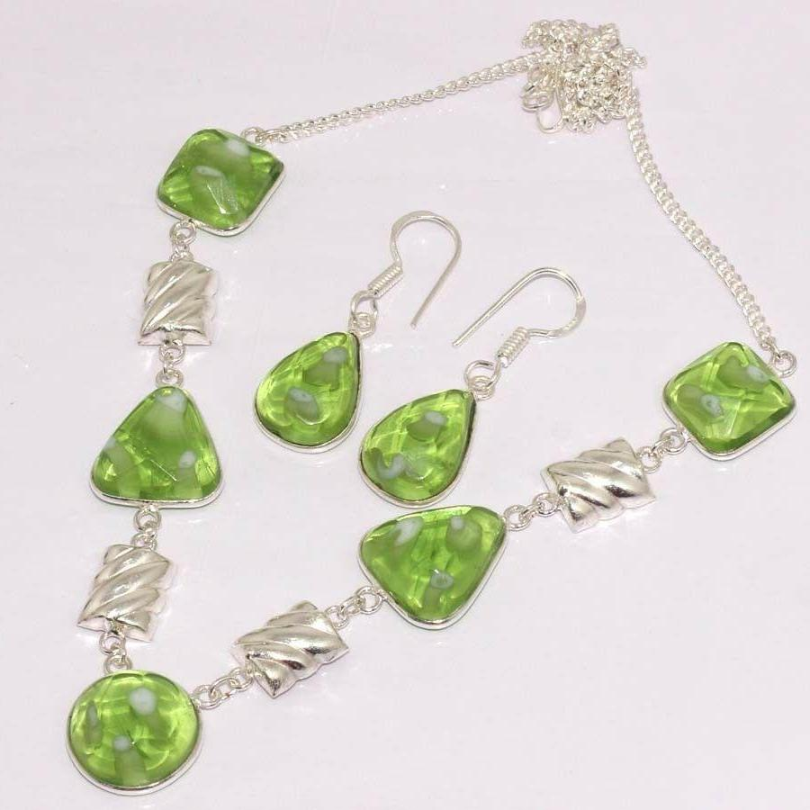 Handmade Green Fancy Glass Stones Silver Plated Necklace & Earring Set