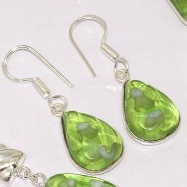 Green Fancy Glass Stones .925 Silver Plated Necklace & Earring Set