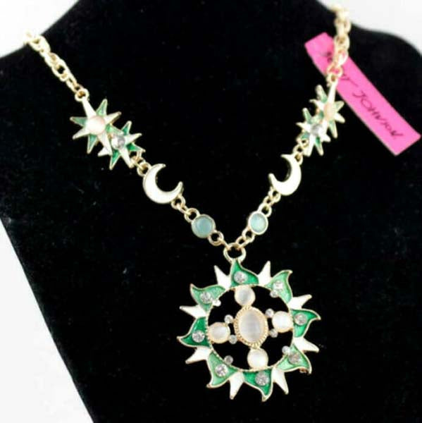 Betsey Johnson Moon & Sun Faux Opal Necklace