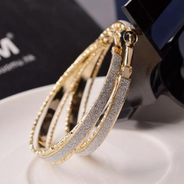 Sparkly Gold Tone Hoop Earrings
