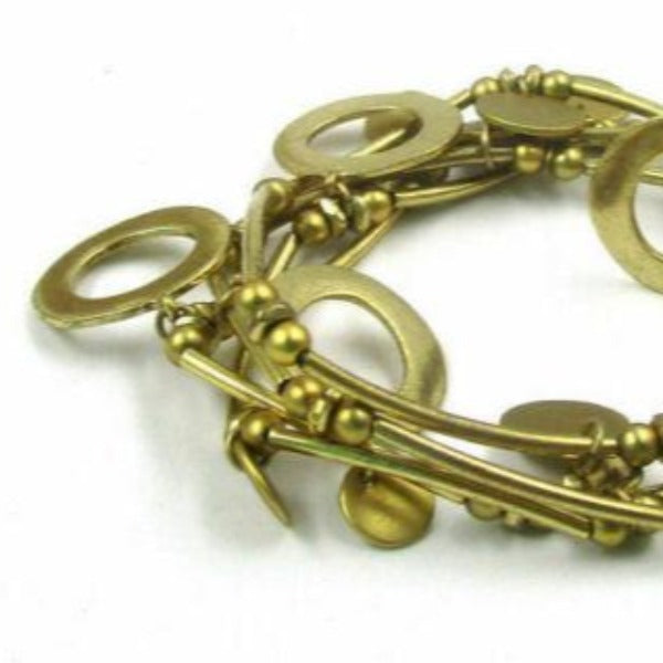 Brass Circles Layered Bracelets