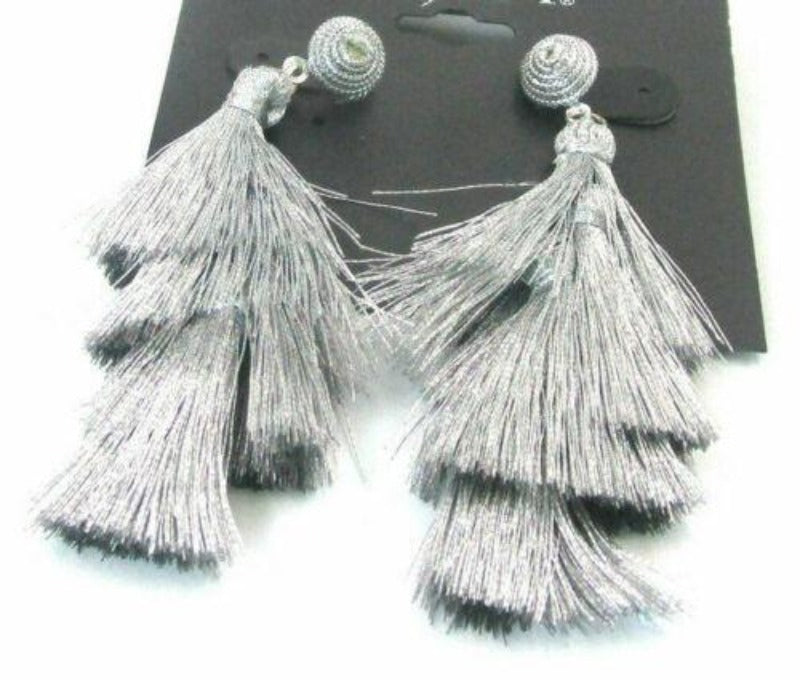 Gray Tassel Silver Pierced Earrings