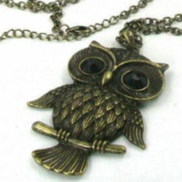Large Owl Long Brass Chain Pendant Necklace