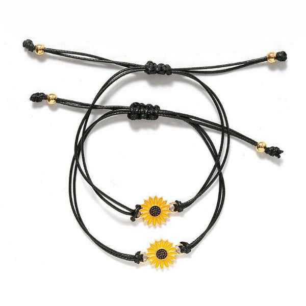 Sunflower Notecard Friendship Set of 2 Bracelets