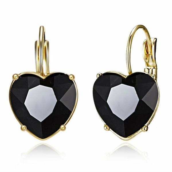Heart Shaped Black Crystal Gold Earrings