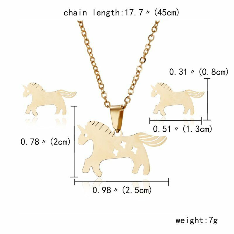Horse Gold Stainless Steel Necklace & Earrings Set