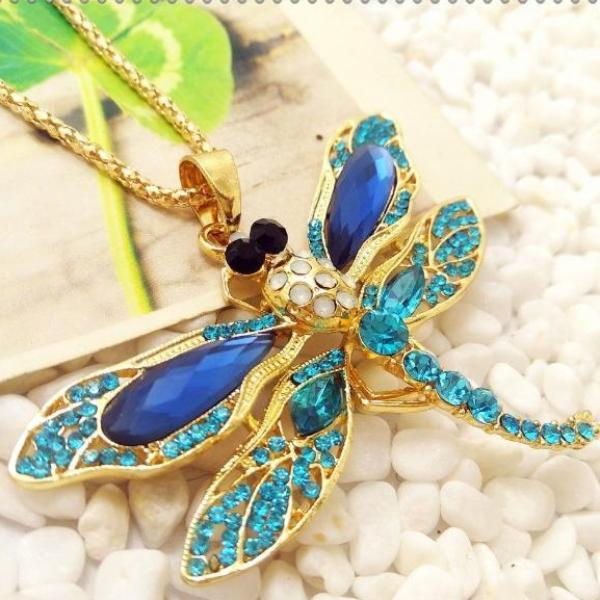 Betsey Johnson Blue Dragonfly Multi-Color Inlay Crystal Necklace
