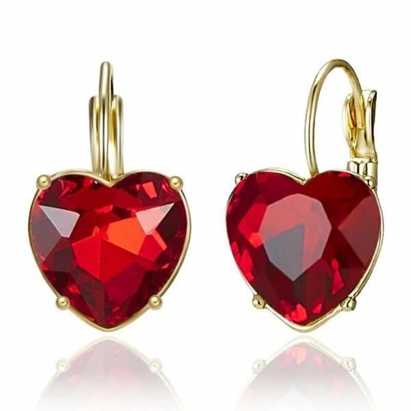 Heart Shaped Red Crystal Gold Earrings