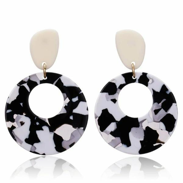 Black & White Retro Acetate Earrings