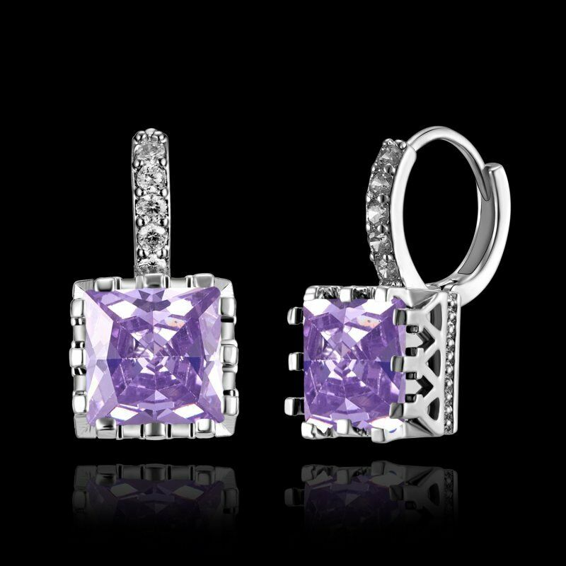 Geometric Purple Square Zircon Silver Earrings