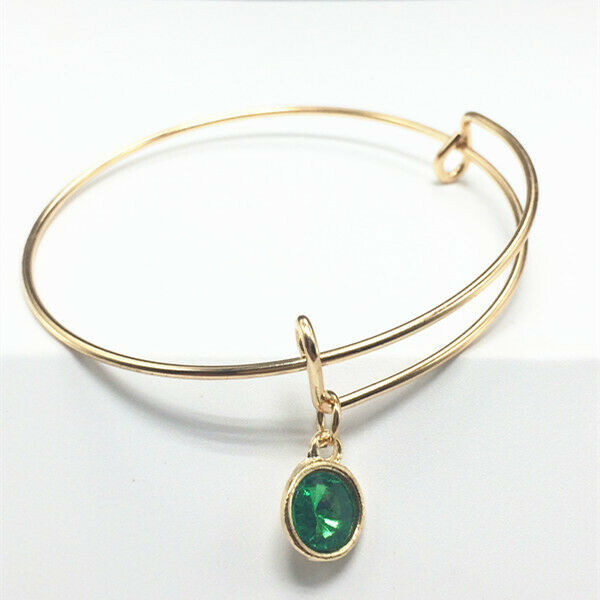 May Birthstone Gold Wire Bracelet with Dark Green Charm