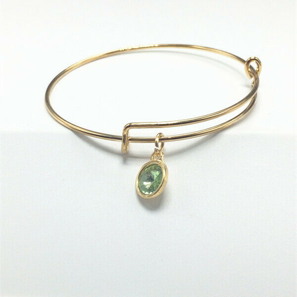 August Birthstone Gold Wire Bracelet with Light Green Charm