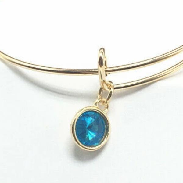 Gold Wire Bracelet with Lake Blue Charm