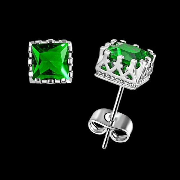 Green Square Zircon Silver Tone Earrings